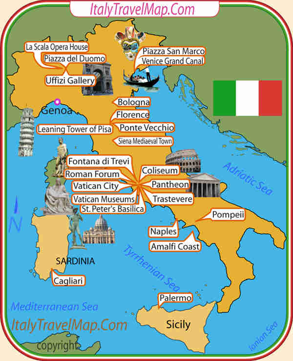 Italy Travel Attractions – Travel Map Of Italy